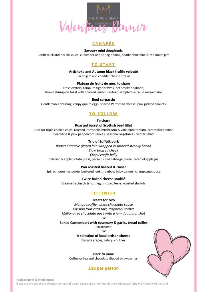 Valentines Menu 2019 Page 001 Kings Head Dullingham